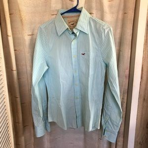 Hollister Shirts - Hollister 100% Cotton Green & White Striped Button
